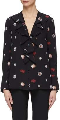 Alexander McQueen Graphic print ruffle collar silk shirt
