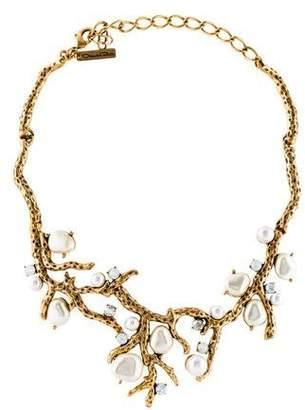 Oscar de la Renta Faux Pearl & Crystal Collar Necklace