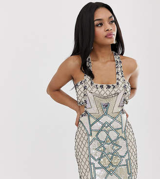 e7cd93bbb4b Asos Design DESIGN Petite mini dress in moroccan tile embellishment