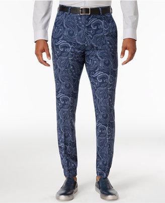 Tallia Men's Slim-Fit Indigo Blue Paisley Suit Joggers $99.50 thestylecure.com
