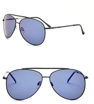 Steve Madden 60mm Aviator Polarized Metal Frame Sunglasses