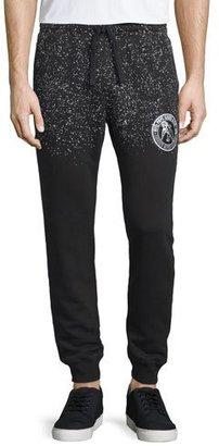 PRPS Speckled Logo-Patch Sweatpants, Black/White $250 thestylecure.com