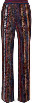 Missoni Striped Metallic Crochet-knit Wide-leg Pants - Red