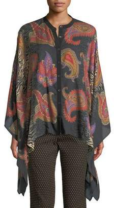 Etro Animal-Print Button-Front Cashmere-Silk Poncho Blouse