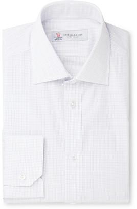 Turnbull & Asser White Slim-Fit Cutaway-Collar Checked Cotton-Poplin Shirt