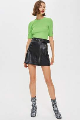 Topshop Belted Leather Mini Skirt