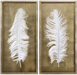 Uttermost Set Of 2 White Feathers Gold Shadow Box