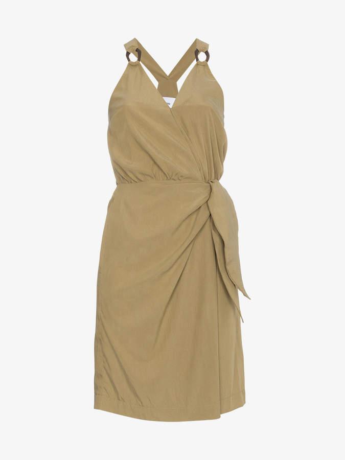Nanushka Khaki wrap dress with plastic ring detail
