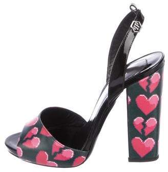 Philipp Plein Leather Heart Sandals