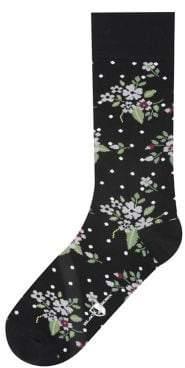 Black & Brown Black Brown Floral Dot Dress Socks