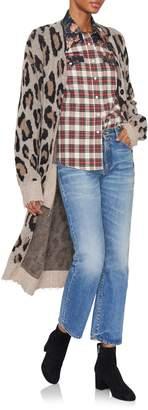 R 13 Denim Leopard-Print Cashmere Oversized Cardigan