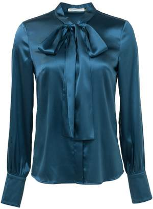 Atelier FG Topaz Blue Pussy Bow Stretch Silk Shirt