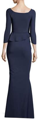Chiara Boni Adela Off-the-Shoulder Asymmetric Peplum Evening Gown