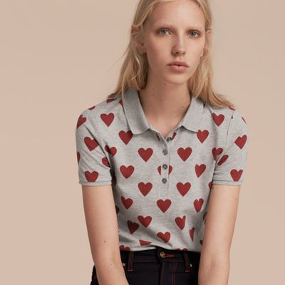 Burberry  Burberry Heart Print Stretch Cotton Piqué Polo Shirt