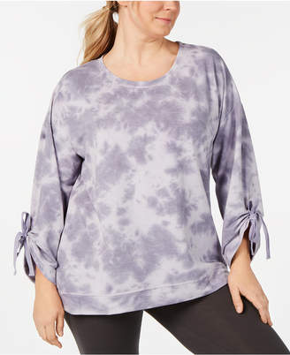 Ideology Plus Size Tie-Dyed Tie-Sleeve Top