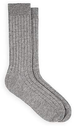 Barneys New York Men's Ribbed Cashmere Mid-Calf Socks - Gray