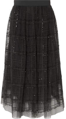 Brunello Cucinelli Sequin-embellished Embroidered Tulle Midi Skirt - Gray
