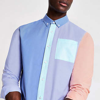 River Island Light blue pastel blocked long sleeve shirt