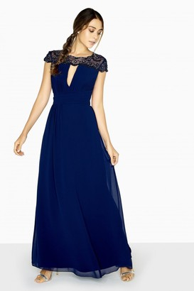 Little Mistress Lacey Pearl Mesh Maxi Dress With Keyhole