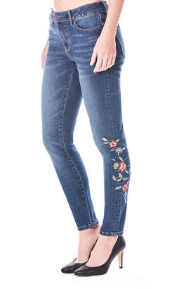 Nicole Miller New York Tribeca Mid-Rise Embroidered Skinny Jeans