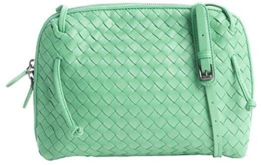 Bottega Veneta trefle green intrecciato leather shoulder bag