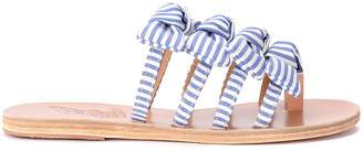 Ancient Greek Sandals Hara White And Blue Fabric Slippers With Bows