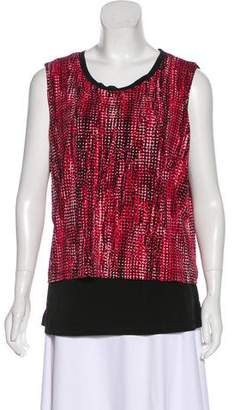 T Tahari Sleeveless Printed Top