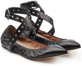 Valentino Leather Cross-Front Ballerinas