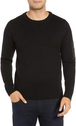 Bugatchi Leather Trim Wool Sweater