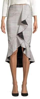 Alice + Olivia Shantell Plaid Ruffle Trumpet Skirt