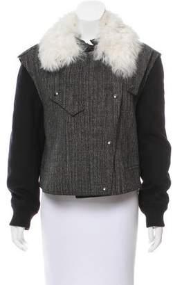 Belstaff Shearling-Lined Tweed Jacket