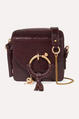 See by Chloe Joan Square Patent Snake-effect Leather Shoulder Bag - Burgundy