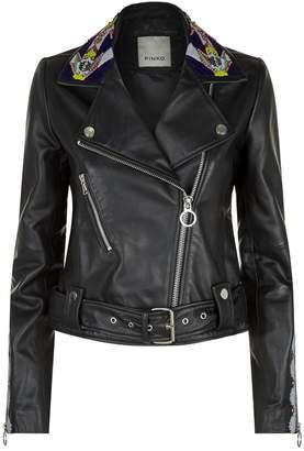 Pinko Embellished Collar Leather Jacket