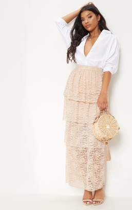 PrettyLittleThing Blush Lace Tiered Maxi Skirt