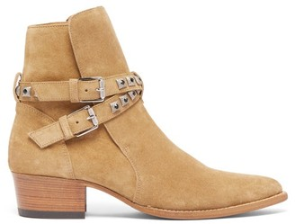 Jodphur Conch Studded Strap Suede Boots - Mens - Beige