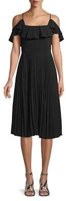 Halston H Cold-Shoulder Fit-&-Flare Dress