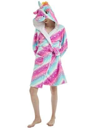 iSZEYU Bath Robe Women's Terry Cloth Womens Bathrobe Plush Sleepwear Hooded Unicorn