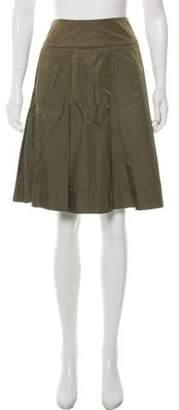 Prada Knee-Length Pleated Skirt Olive Knee-Length Pleated Skirt