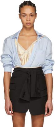 Alexander Wang Blue Deconstructed Wrap Hybrid Slip Shirt