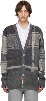 Thom Browne Grey Plaid 4-Bar Oversized V-Neck Cardigan
