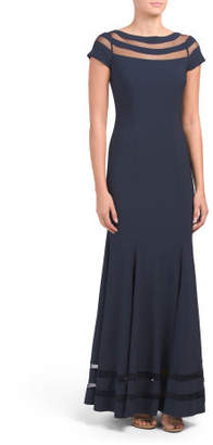 Short Sleeve Gown With Illusion Neckline And Bottom Hem
