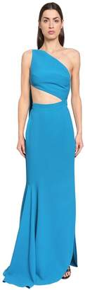 Elie Saab One Shoulder Crepe Cady Dress