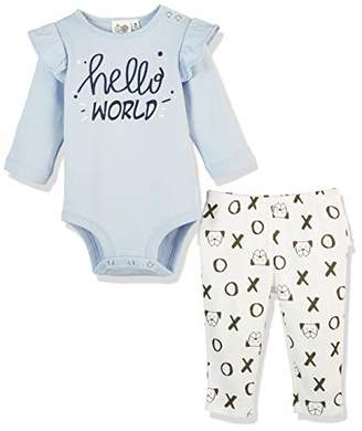 Silly Apples (034) Baby Girls Pure Cotton 2-Piece Long-Sleeve Bodysuit Onesies and Pant Outfit Set ()