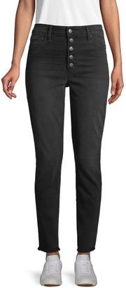 Joe's Jeans Frayed-Hem High-Rise Ankle Skinny Jeans
