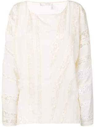 Chloé embroidered paneled blouse