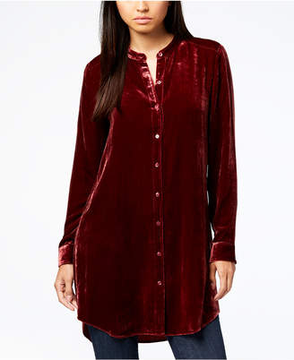 Eileen Fisher Velvet Button-Front Tunic Shirt