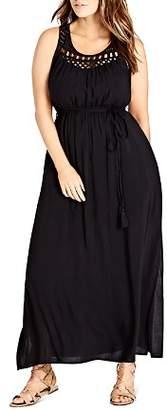 City Chic Plus Crochet Detail Maxi Dress