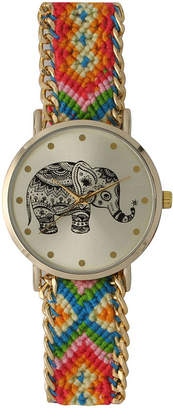 OLIVIA PRATT Olivia Pratt Womens Orange Braided Elephant Print Dial Strap Watch 14811
