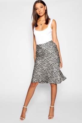 boohoo Tall Leopard Print Satin Midi Skirt