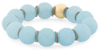 Made In Italy 18k Gold Plated Sterling Silver Aqua Quartz Bracelet